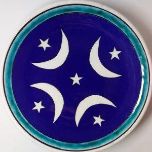Osmanlı Ay Yıldız Desenli Lacivert Çini Şekerlik