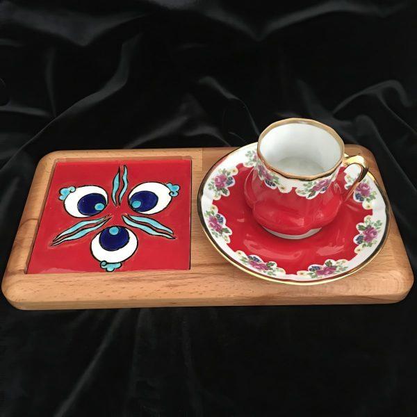 Kırmızı Çintemani Desenli Çini Kahve Sunumluk