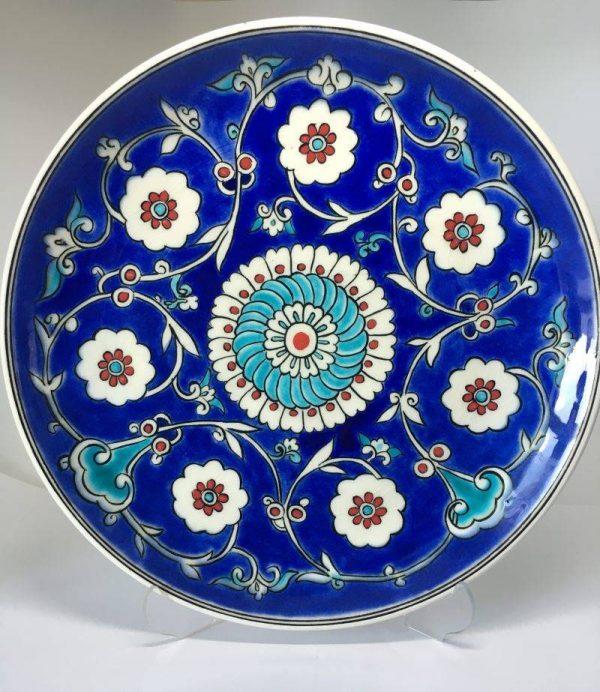 Çicek Desenli Mavi İznik Çini Tabak