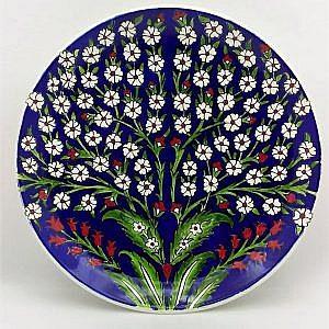 Hayat ağacı Desenli İznik Çini Tabak Mavi