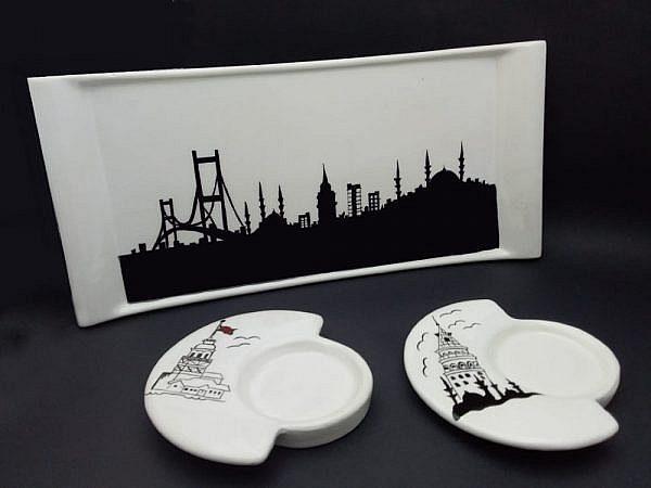 İstanbul Temalı Çini Sunumluk Çay Takımı