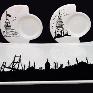 İstanbul Temalı Çini Sunumluk Çay Takımı Hediye